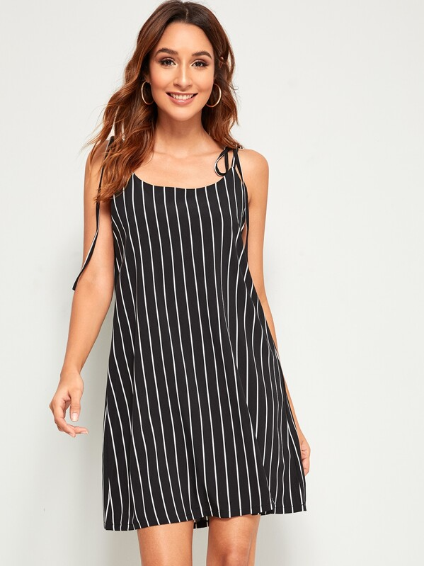 Striped Slit Hem Knot Slip Dress, Gabi B
