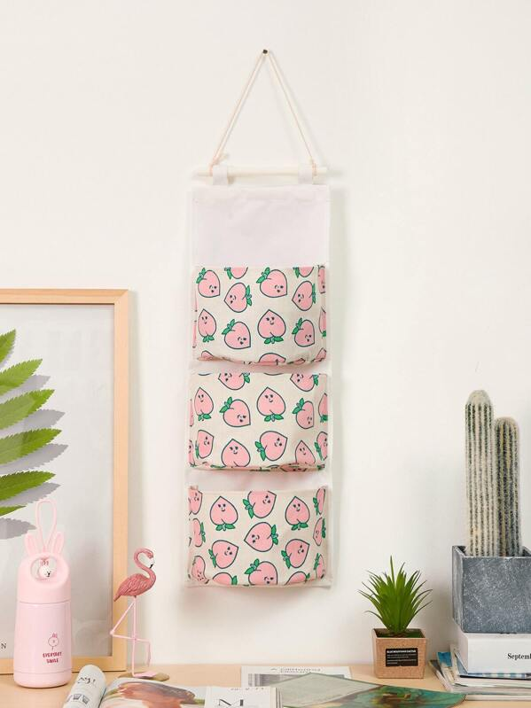 Peach Print Hanging Storage Bag, null