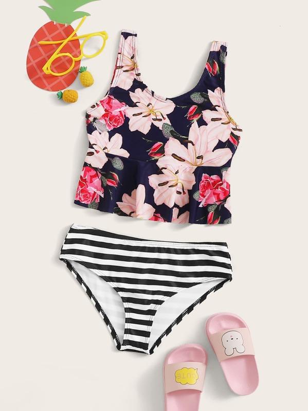 Girls Random Floral Peplum Top With Panty Tankini Set, null