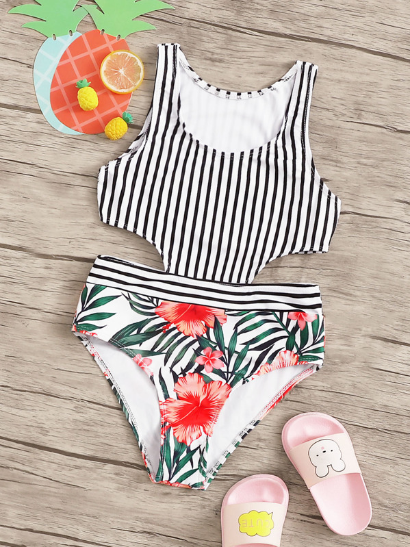 Girls Random Tropical & Striped Print Monokini, null