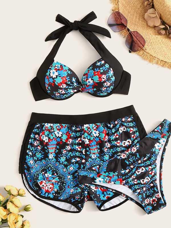 Floral Twist Underwired Halter Bikini Set With Shorts 3pack, null