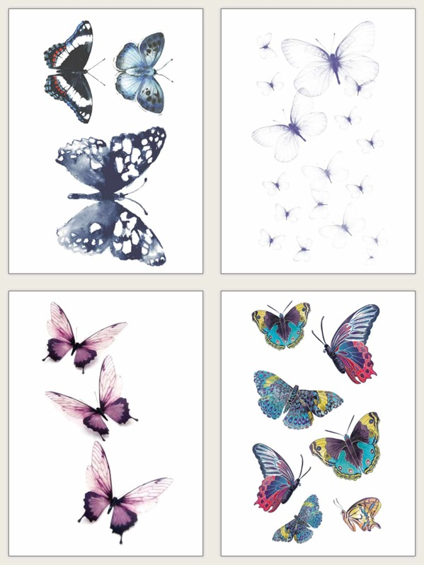 Butterfly Pattern Tattoo Sticker 4sheets, null