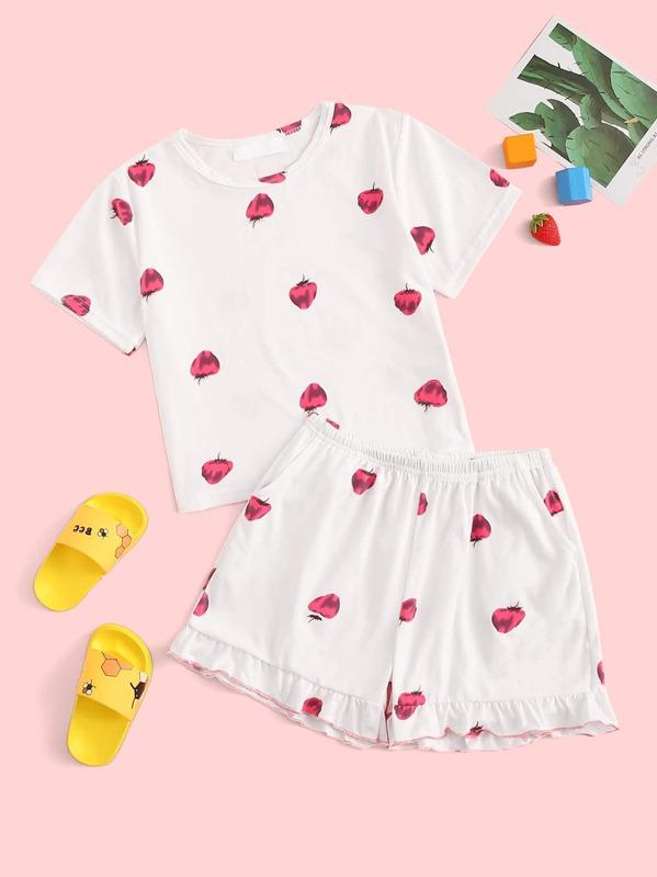 Girls Strawberry Print Ruffle Pajama Set, null