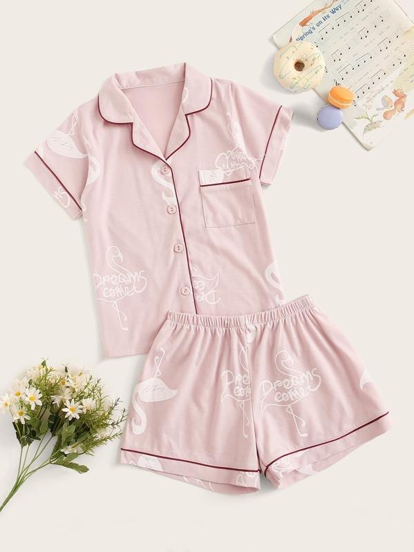 Girls Flamingo Print Button-up Pajama Set, null