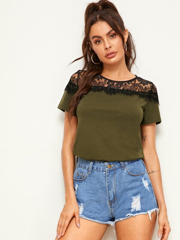 Keyhole Back Contrast Lace Tee, Army green, Andy
