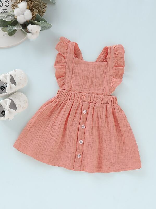 Baby Button Front Ruffle Solid Pinafore Dress, null