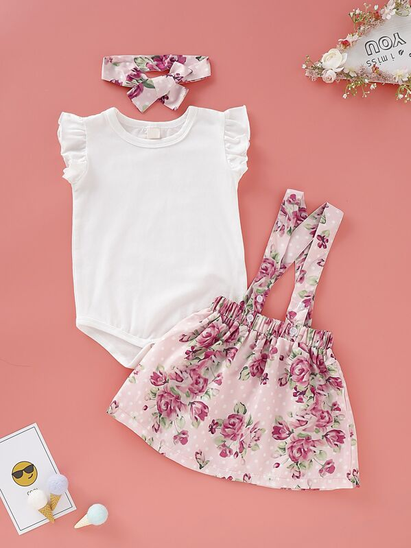Baby Girl Ruffle Romper & Floral Straps Skirt & Headband, null