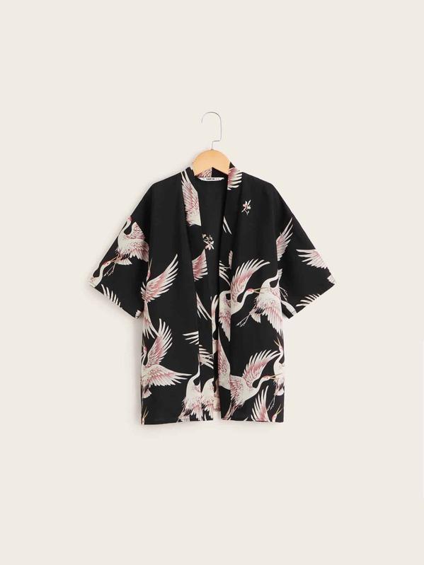 Girls Crane Print Kimono