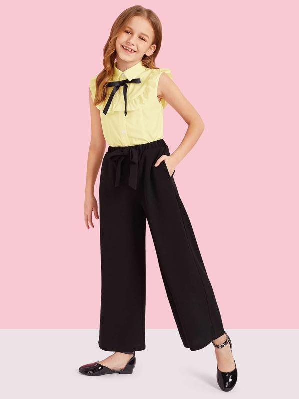 Girls Ruffle Trim Blouse & Knotted Wide Leg Pants Set, Sashab