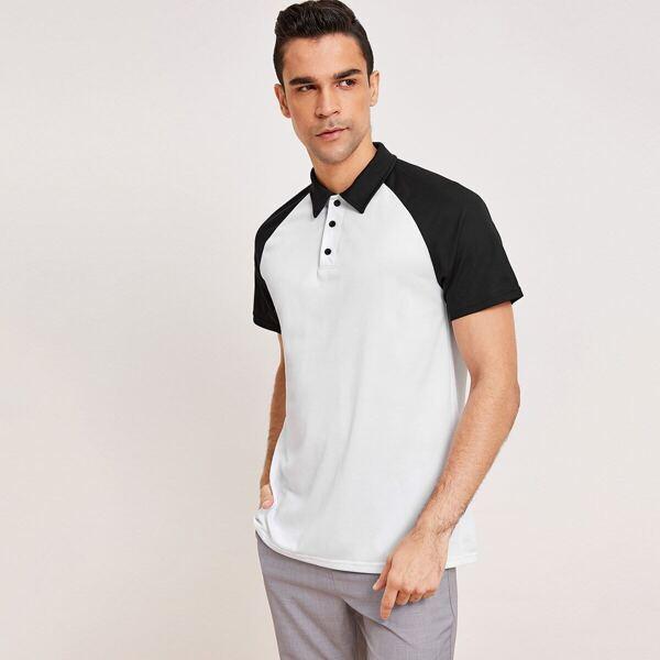 Men Raglan Sleeve Polo Shirt