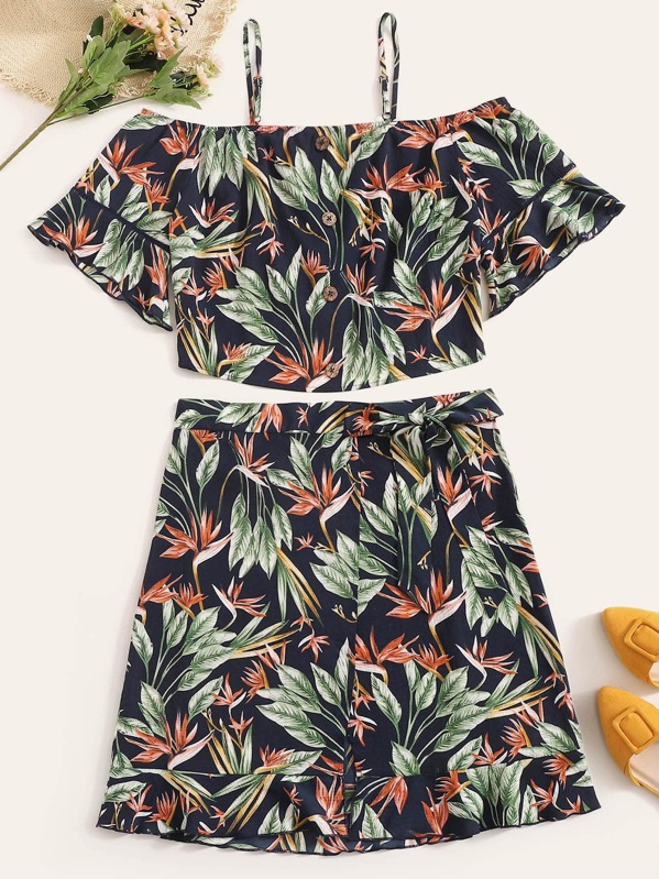 Plus Plant Print Button Front Top & Knotted Skirt Set