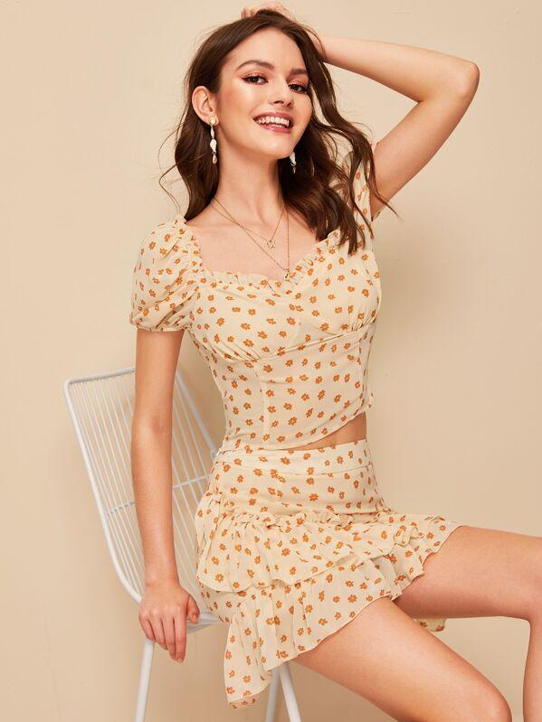 Frill Trim Bustier Top & Layered Ruffle Hem Skirt Set, Natalia