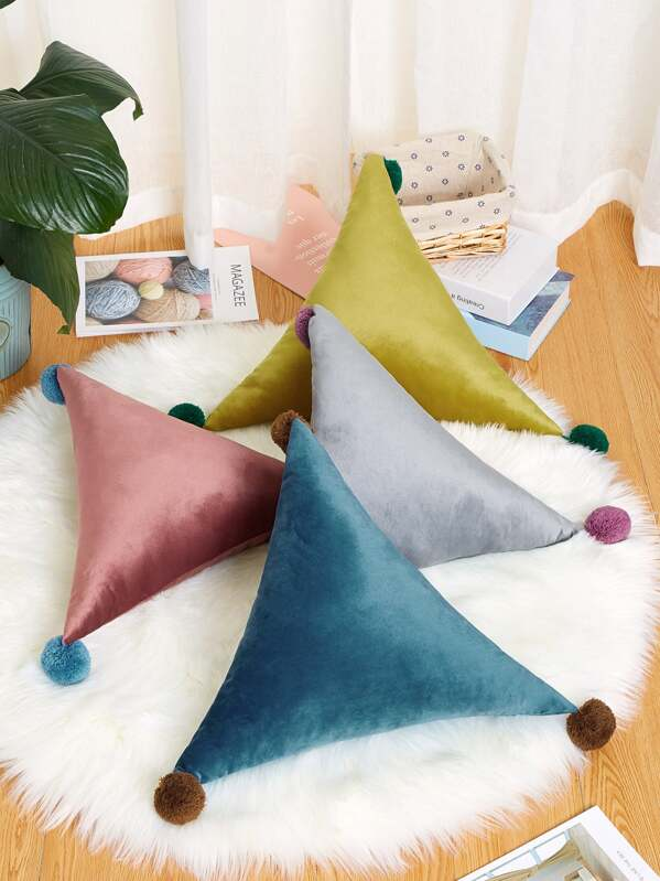 Pom Pom Decor Triangle Decorative Pillow 1pc, null