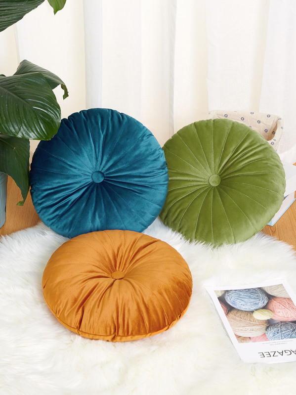 Solid Round Decorative Pillow 1pc, null