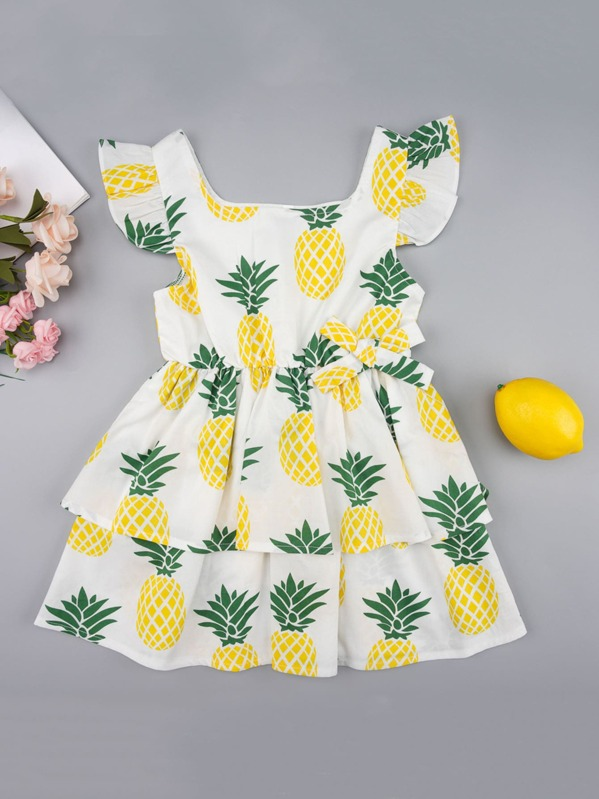 Toddler Girls Pineapple Print Tiered Layer A-line Dress, null