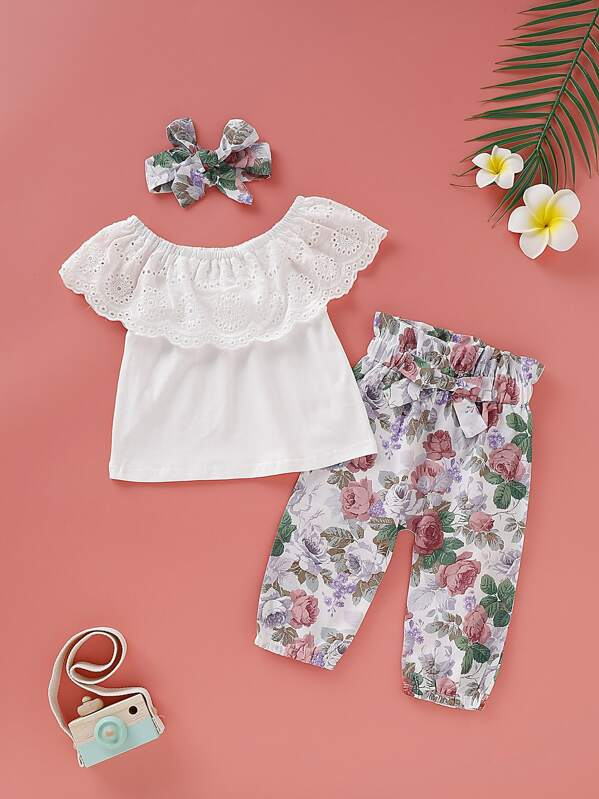 Baby Girl Eyelet Embroidery Top & Floral Print Paperbag Pants & Headband, null