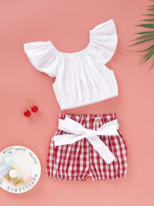 Baby Girl Flutter Sleeve Top With Gingham Belted Shorts, null
