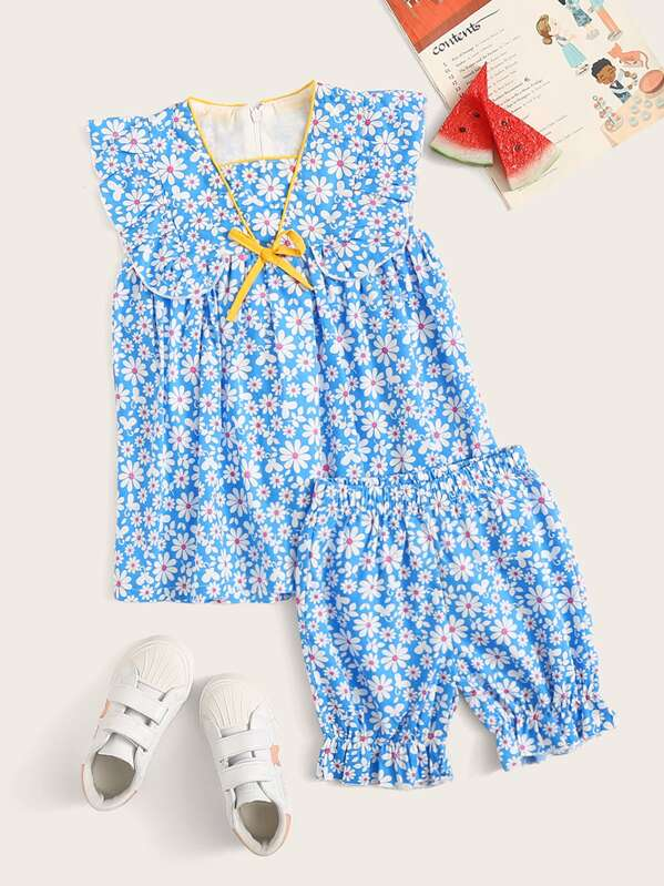 Toddler Girls Daisy Floral Smock Dress With Frill Shorts, null