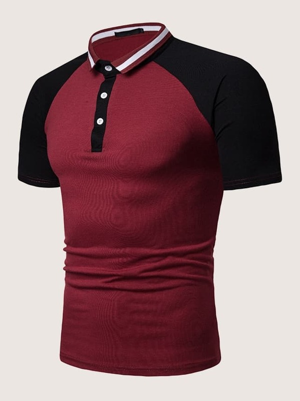 Men Contrast Panel Raglan Sleeve Polo Shirt, null