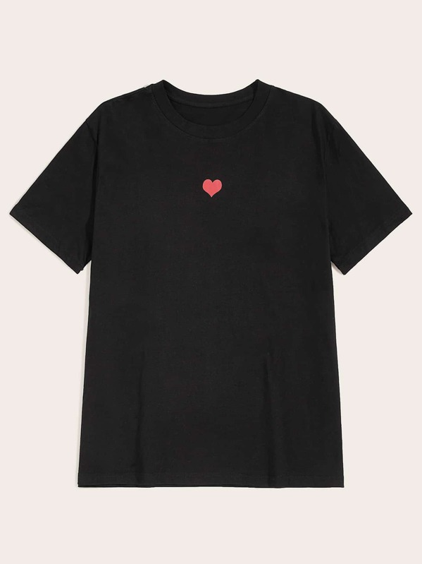 Men Heart Print Tee, null