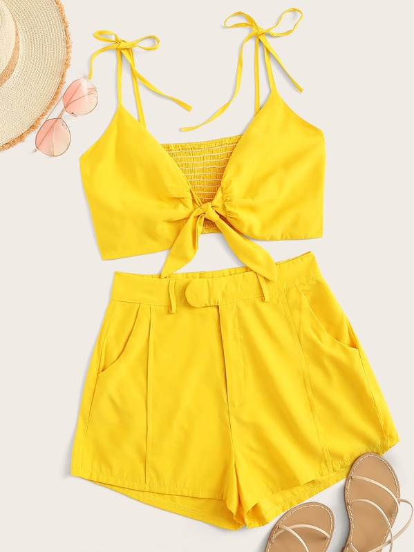 Tie Front Shirred Cami Top With Shorts, null