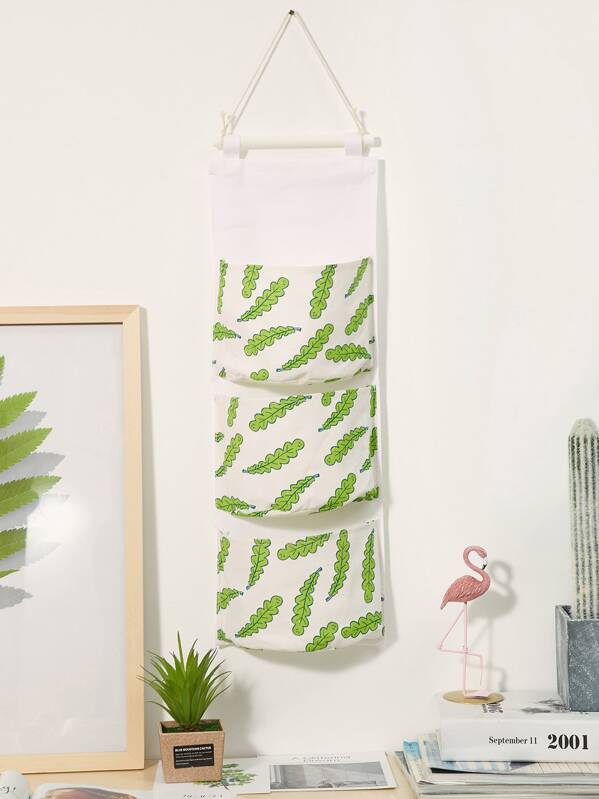 Plant Print Hanging Storage Bag 1pc, null