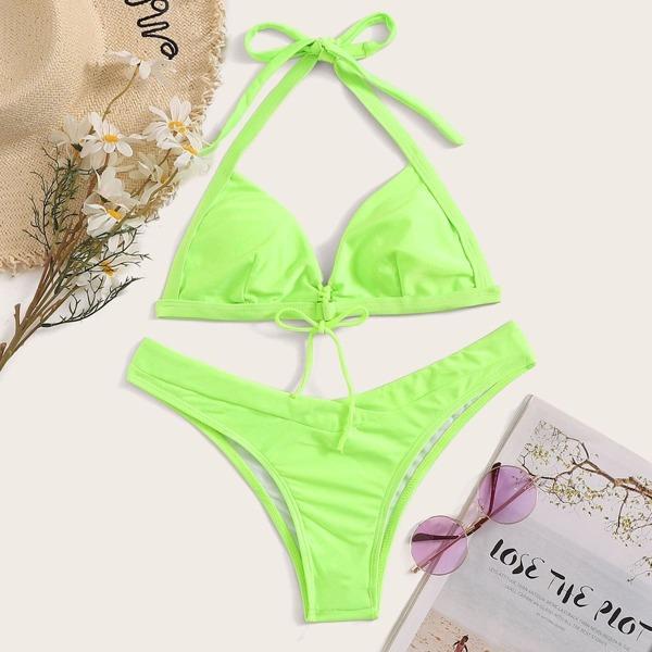Neon Lime Halter Top With High Cut Bikini