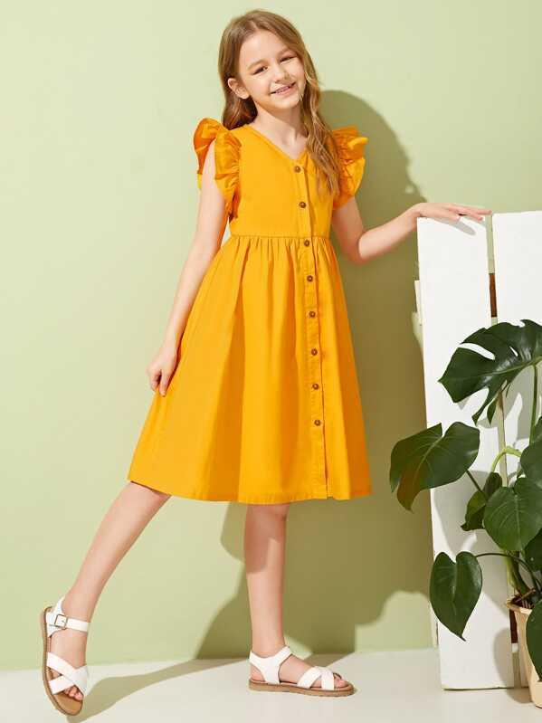 Girls Ruffle Trim Button Front Dress, Yellow, Sashab
