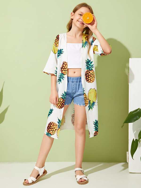 Girls Drop Shoulder Pineapple Kimono, Sashab