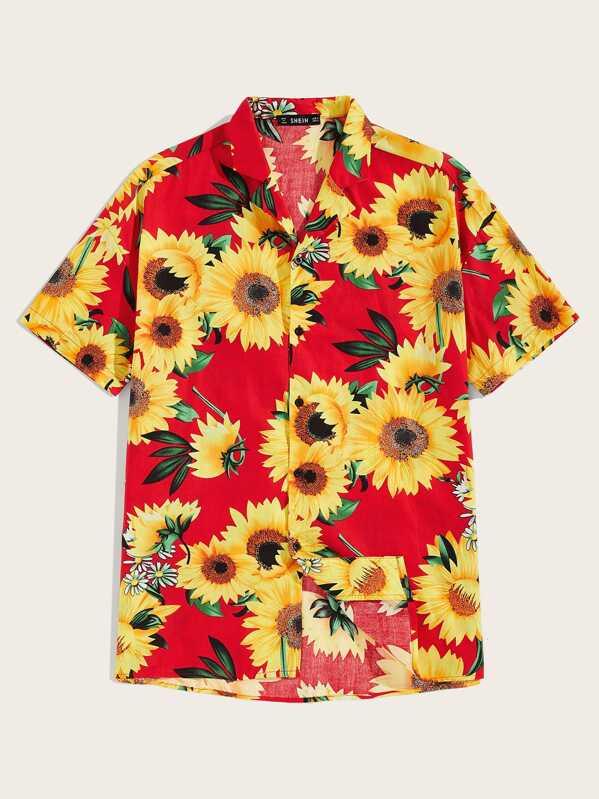 Men Revere Collar Sunflower Print Shirt