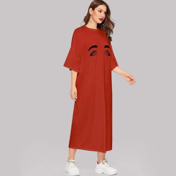 Eyes Print Drop Shoulder Tee Dress