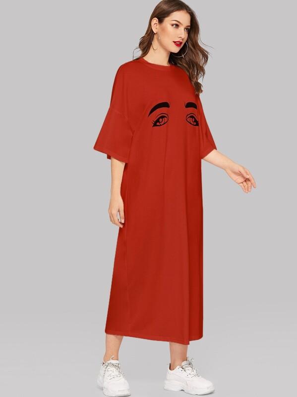 Eyes Print Drop Shoulder Tee Dress, Debi Cruz