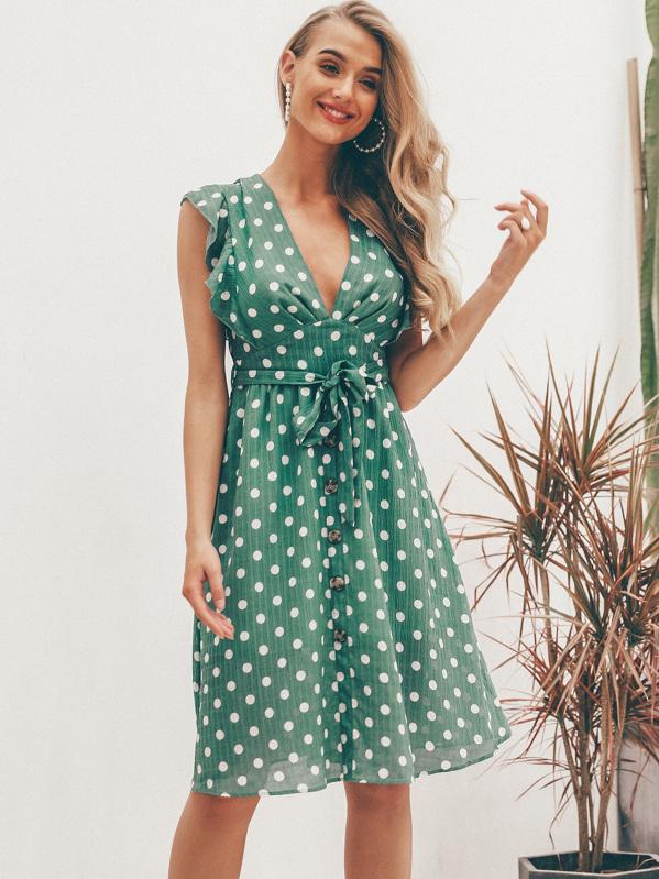 Simplee Polka-dot Print Ruffle Trim Belted Tea Dress, null