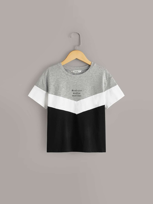 Boys Cut And Sew Slogan Print Tee, null