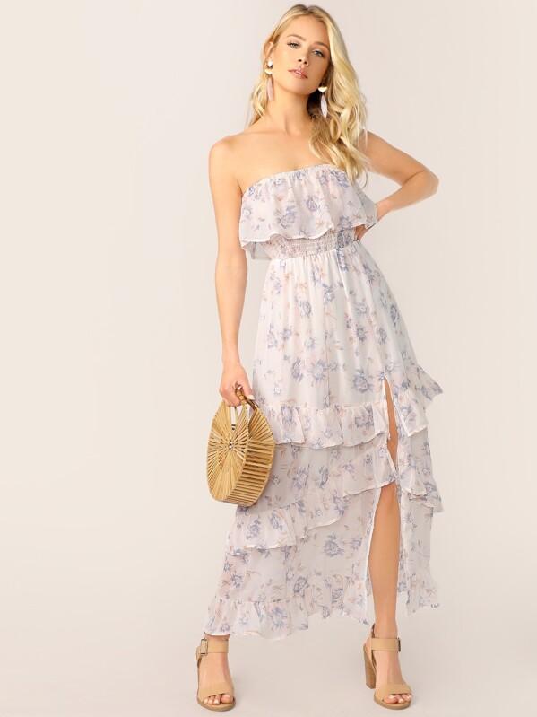Shirred Ruffle Trim Split Thigh Layered Tube Dress, White, Allie Leggett