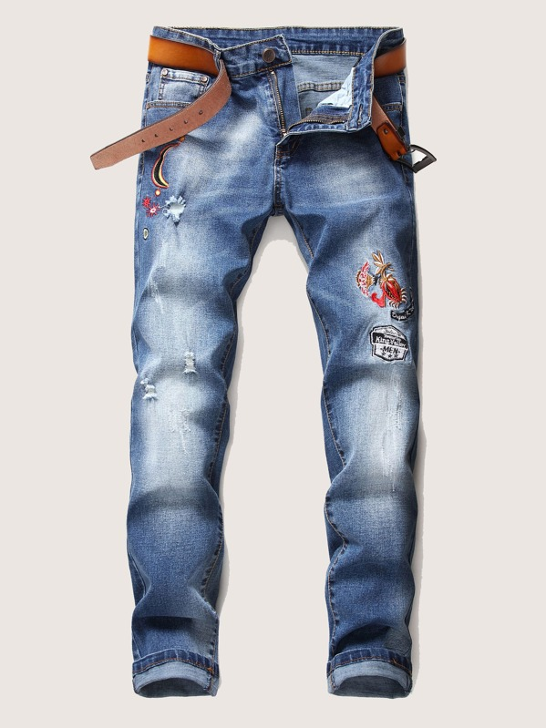 Men Ripped Embroidery Jeans, null