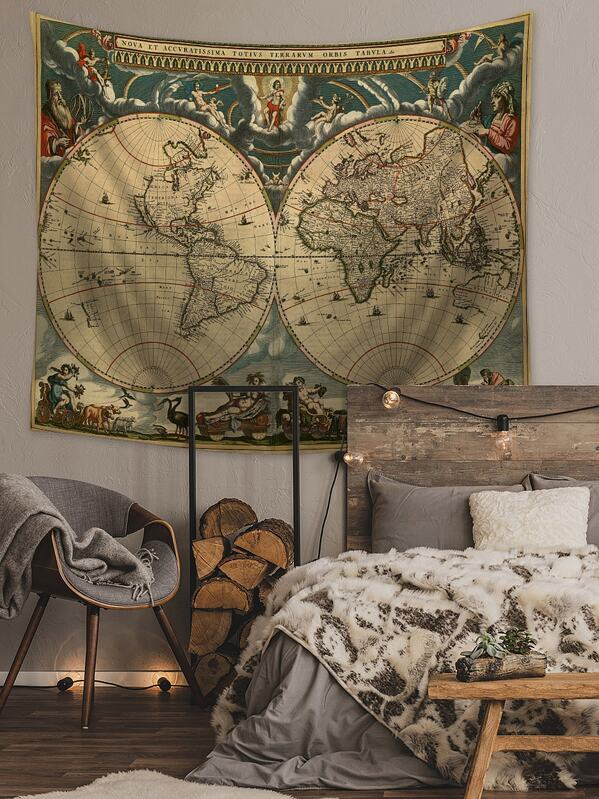 World Map Print tapestry, null