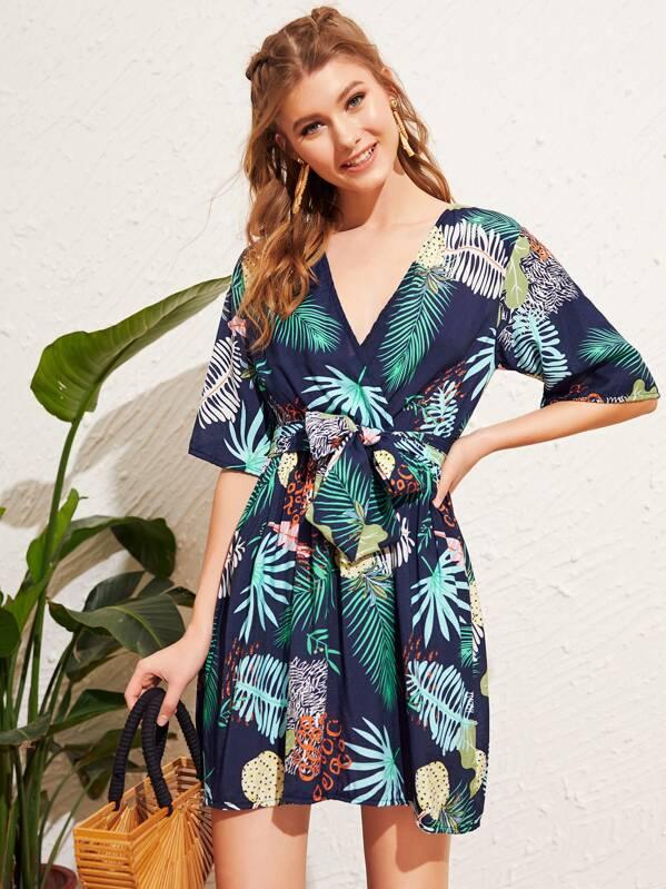 Tropical Print Self Tie Dress, Multicolor, Lera C