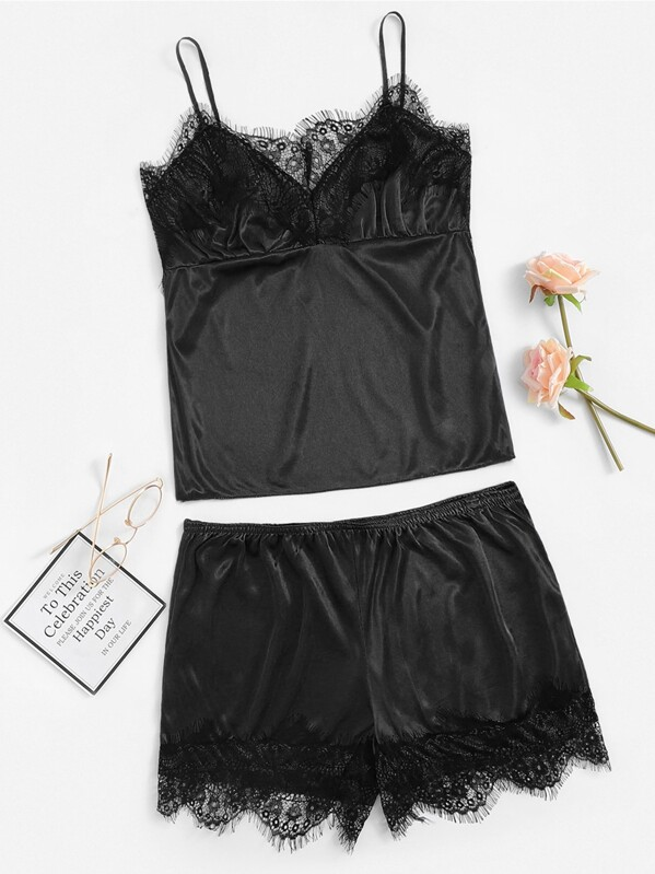 Plus Floral Lace Satin Cami With Shorts, null