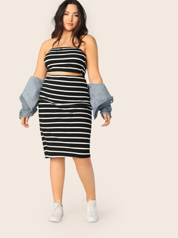 Plus Striped Bandeau Top & Pencil Skirt Set, Yumi