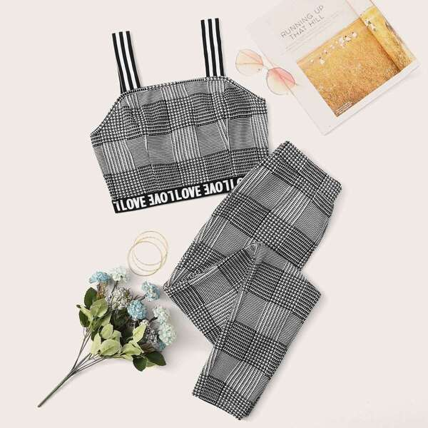 Letter Tape Top With Striped Strap and Pants Set