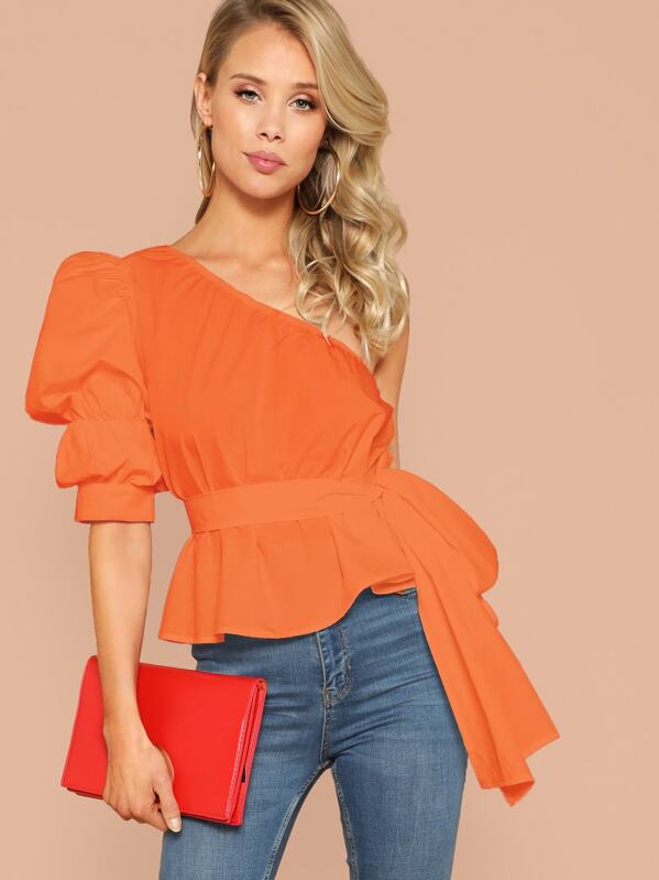 Neon Orange One Shoulder Gathered Sleeve Belted Top, Allie Leggett