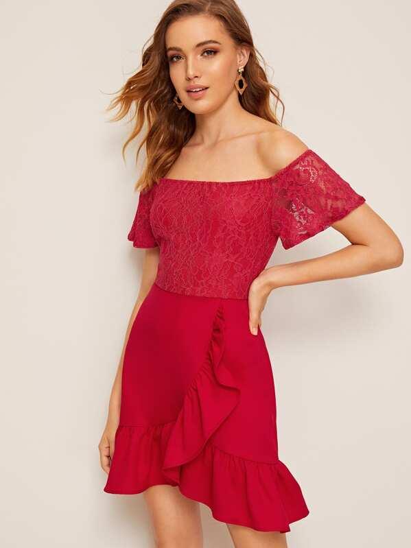 Off Shoulder Lace Bodice Ruffle Trim Wrap Dress, Debora