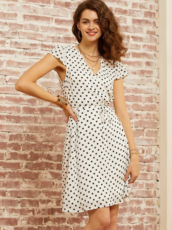 SBetro Polka-dot Print Wrap Belted Dress, null