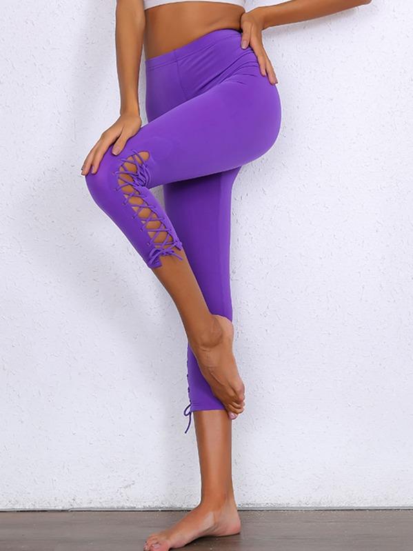 Joyfunear Neon Purple Lace Up Leggings, null
