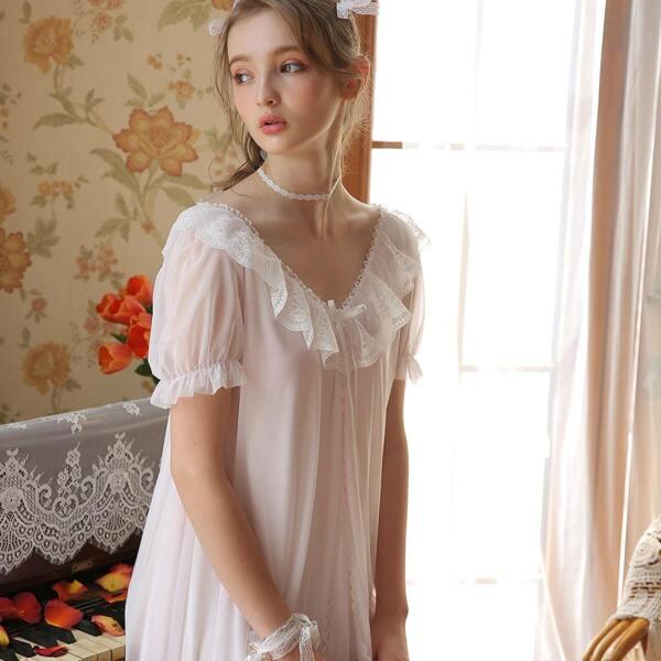 Contrast Lace Mesh Panel Night Dress
