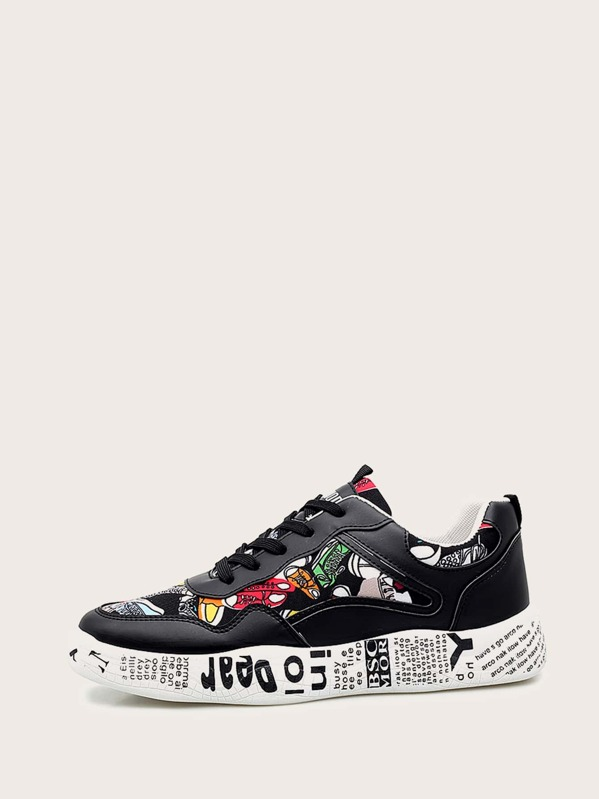 Men Slogan Print Sole Lace-up Trainers, null