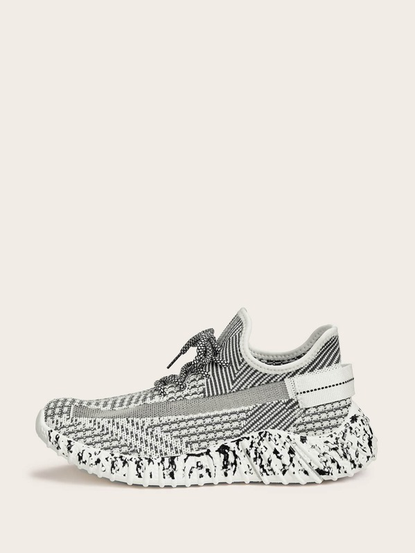 Men Striped Detail Lace-up Front Trainers, null