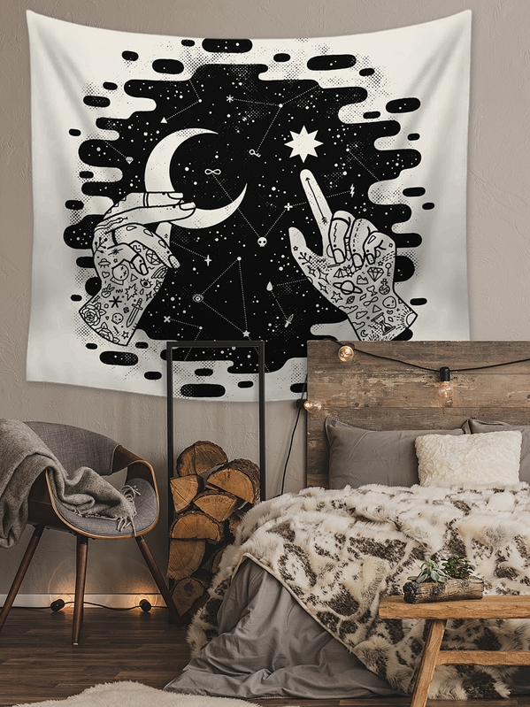 Moon & Star Print Tapestry, null