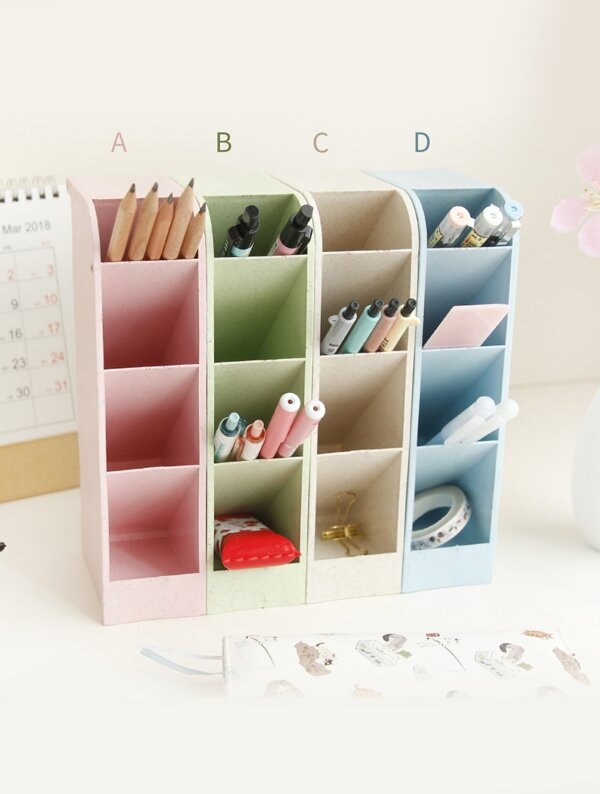4 Grid Solid Pencil Holder 1pc, null